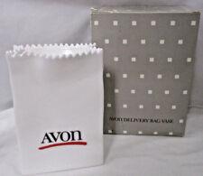"""NIB Avon Delivery Bag Vase Brush Holder White Porcelain 6"""""""