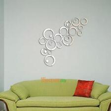 24x 3D Kreise Spiegel Wandaufkleber Wandsticker Wandtatto Wanddeko DIY Abnehmbar