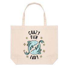 Crazy peces Dama estrellas grandes Playa Bolso-SHOPPER HOMBRO animales graciosos