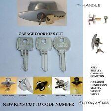 2 x MANICO A T PORTA del garage chiavi taglio a codice-R08 a R254 e 001 a 400