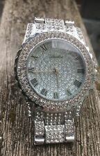 Men Iced out Silver Tone Techno Pave Bling Simulated Diamond Rapper Watch Hip Ho