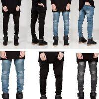 Fashion Men's Designer Jeans Pants Slim Fit Skinny Moto Biker Denim Trousers