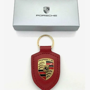 PORSCHE LEATHER METAL CREST KEY RING FOB CHAIN RED
