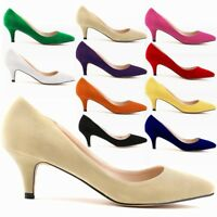 Ladies Womens Low Mid Kitten Heels Office Faux Suede Pointed Toe Pumps Shoes Top