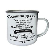 Camping Rules Retro,Tin, Enamel 10oz Mug j474e