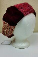 NEW Shiraleah Wool & Velvet Blend Kourtney Hat, Wine / Red, Hippy Patchwork Boho