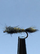 12QTY Gold Ribbed Hare's Ear Fly Fishing Flies size 14