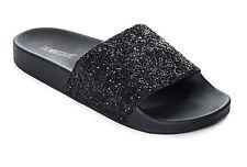 The White Brand Glitter Black Slide Women's Sandals, Red/White, Size: 6.