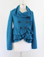 Elevenses Anthropologie Womens Teal Blue Ruffle Peplum Trim Jacket Size 2 Wool