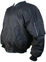 MA1 Bomber Jacket Black Zip Up Nylon reversible Flight Jacket New Metal Zip L-XL