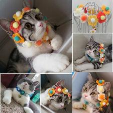 Pet Cat Dog Kitten Wool Knitting Scarf Collar Cat Dog Garland Flowers Circle