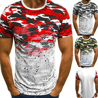 Mens Military Camouflage Camo T Shirt Army Combat Short Sleeve Causal Slim Tee