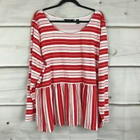 Du Jour Womens 2X Stripe Printed Long Sleeve Knit Peplum Top Stretch Tee Red