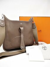 "HERMES EVELYNE EVELYN CLEMENCE 3PM III 29 ""ETOUPE"" T STAMP (2015) BOX, DUSTBAG"