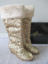 JOAN BOYCE GOLD FULLY SEQUIN FAUX FUR BOOTS SIZE 8 1/2 M - NEW W BOX