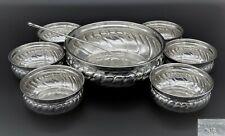 More details for vintage dg fluted soup fruit dessert bowl 6 small bowls and ladle silver plated