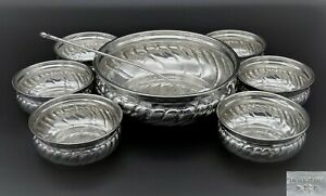 VINTAGE DG FLUTED SOUP FRUIT DESSERT BOWL 6 SMALL BOWLS AND LADLE SILVER PLATED