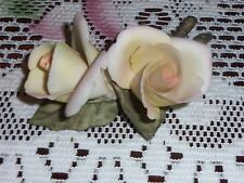 "CAPODIMONTE ITALY HAND MADE ROSES ORIGINAL STICKER CROWN ""N"""
