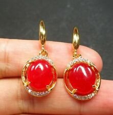 New Red Jade Cabochon Imitation Diamond Flower Gold Plated Hook Dangle Earrings