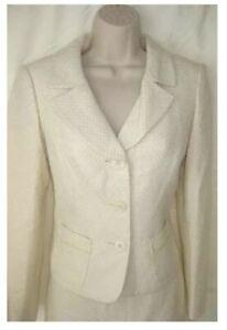 Jones New York Skirt Suit Set Wool Creme Roman Holiday Nwt Size 10P