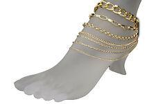 New Women Foot Bracelet Metal Chains Gold Anklet Ethnic Bling Charm Multi Strand