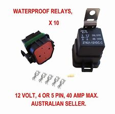RELAY AUTOMOTIVE X 10 WATERPROOF 4 5 PIN 40 AMP SWITCH 12 VOLT WIRE BOAT MARINE