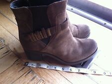 Browns Brown Women's Leather Suede Ankle Boots Booties Shoes Size 38 Chunky Heel