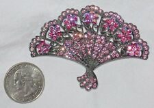 "Gorgeous Pink Aurora Borealis 2.5"" Fan Pin Brooch Pendant Kirks Folly Silver AB"