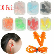10pairs Soft Silicone Corded Ear Plugs Reusable Hearing Protection Earplugs 33db