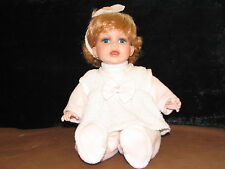 "Doll 11"" Collectable memories Jery seated baby prcelain all original blonde blue"