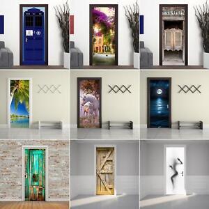 3D Door Wall Sticker Mural Scene Self Adhesive Wallpaper Home Decor PVC Decal