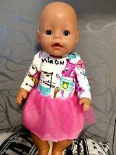 Mütze.z.B für Baby Born Handmade NEU Puppenkleidung 3-teilig Kleid Leggins