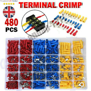 480Pcs Car Wire Assorted Insulated Electrical Terminals Connectors Crimp Box Kit