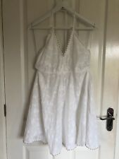 ZARA White Floral Embroidered Halterneck Summer Mini Dress SIZE SMALL