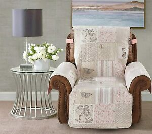 Brilliant Sunshine Gray and Pink Floral Patchwork, Recliner Cover