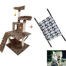 "51"" Leopard Print Cat Tree + S Gray Black Cat Canvas Hammock Pet House Toy"
