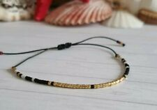Tiny delicate bracelet Layering beaded thread bracelet black string bracelet