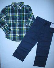 Gymboree Woodland Party Green Plaid Shirt & Navy Dress Pants Set Boys 4T NEW NWT