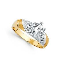 Engagement Ring Anniversary Round Cz Band 14k Yellow & White Gold Cz Solitaire