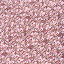 Daisy Floral Geometric Cotton Drill Dressmaking  Furnishing Salmon Red Pink NOS