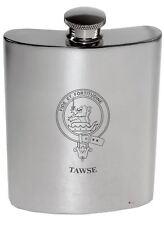 Tawse Family Crest 6oz Polished Pewter Kidney Flask