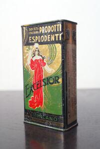 Sipe Excelsior scatola di latta polvere da sparo vuoto vintage antica 100gr