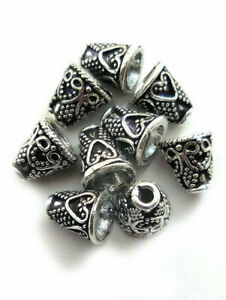 80 PCS 9X8MM SOLID COPPER CONE BEAD ANTIQUE STERLING SILVER PLATED 748 ONO-111