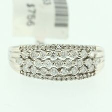 Womens 14k White Gold Genuine Round Cut Diamond Ladys Vintage Cocktail Band Ring