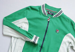 Fila White Line Sports Tracksuit jacket men top size M 50 Medium green COTTON
