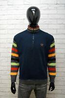 Maglione PAUL & SHARK Felpa Uomo Taglia XL Sweater Cardigan Blu Lana Pullover