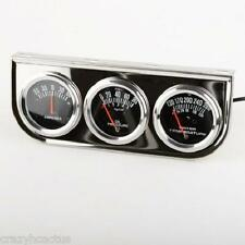 "Auto Gauge 2"" Triple Chrome Black Face Oil Pressure Amps Temperature UNIVERSAL"