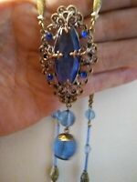 Lovely Vintage Victorian Blue Glass Necklace w/ Filigreed Brass Setting/Findings