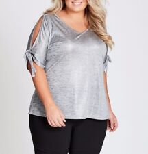 Plus Size Autograph Ladies Metallic (grey)  Bow Cuff Tee Top Size 30 Free Post