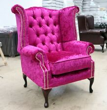 GEORGIAN CHESTERFIELD QUEEN ANNE HIGH BACK WING CHAIR PINK CRUSHED VELVET BS